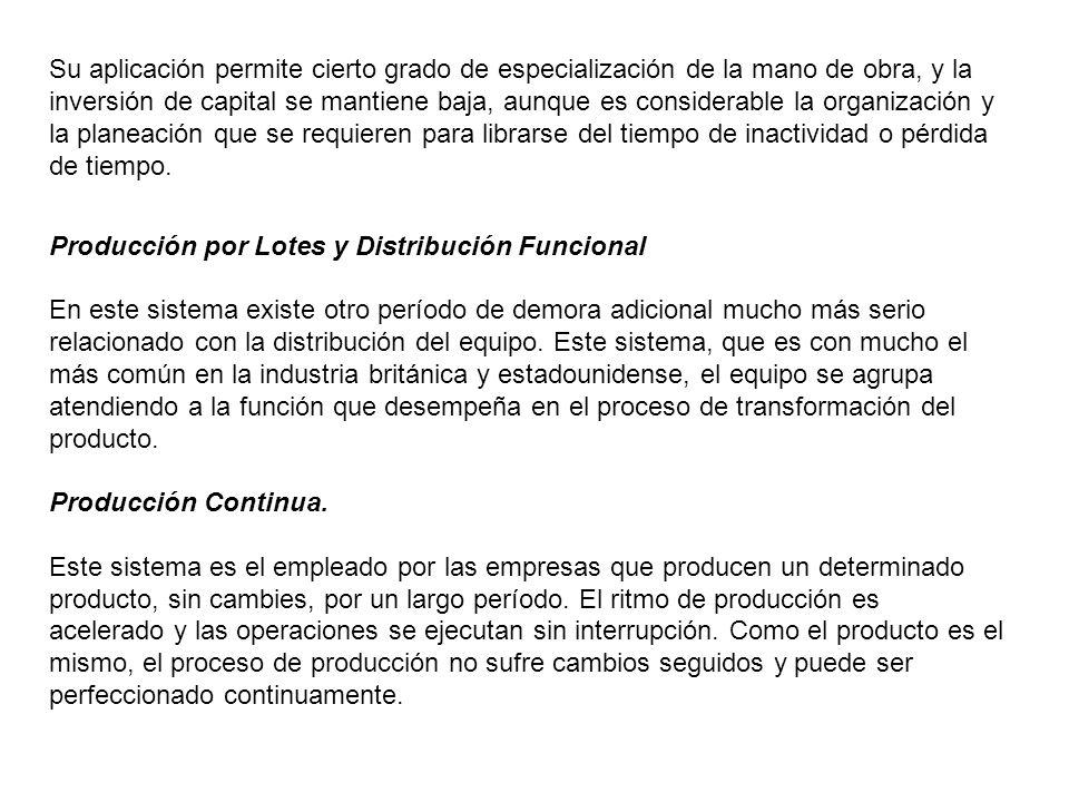 Este tipo de producción es aquel donde el contenido de trabajo del producto aumenta en forma continua.