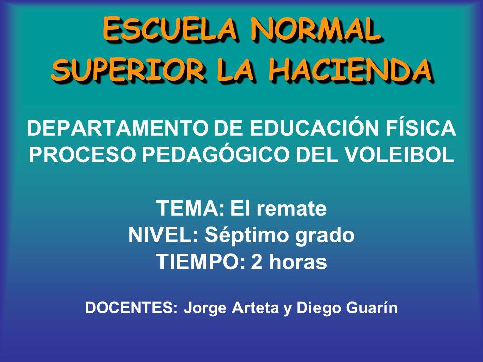 ESCUELA NORMAL SUPERIOR LA HACIENDA DEPARTAMENTO DE EDUCACIÓN FÍSICA PROCESO PEDAGÓGICO DEL VOLEIBOL TEMA: El remate NIVEL: Séptimo grado TIEMPO: 2 ho