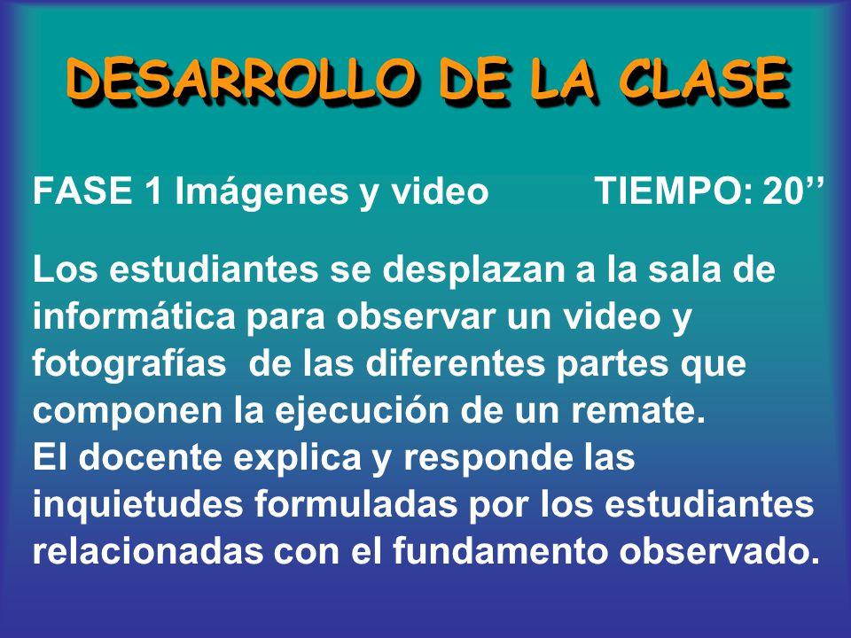 DESARROLLO DE LA CLASE FASE 1 Imágenes y video TIEMPO: 20'' Los estudiantes se desplazan a la sala de informática para observar un video y fotografías