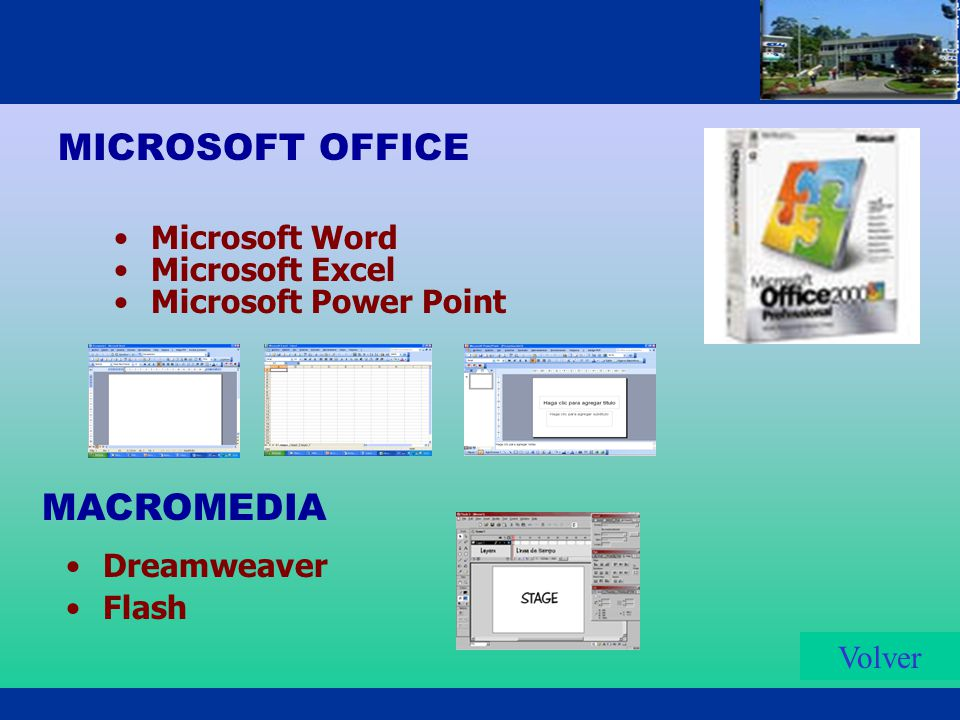 MICROSOFT OFFICE Microsoft Word Microsoft Excel Microsoft Power Point Volver Dreamweaver Flash MACROMEDIA