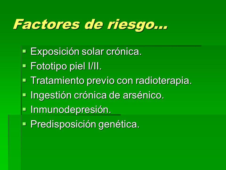 Factores de riesgo…  Exposición solar crónica.  Fototipo piel I/II.  Tratamiento previo con radioterapia.  Ingestión crónica de arsénico.  Inmuno