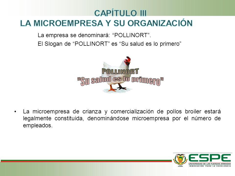 """La empresa se denominará: """"POLLINORT"""". El Slogan de """"POLLINORT"""" es """"Su salud es lo primero"""" La microempresa de crianza y comercialización de pollos br"""