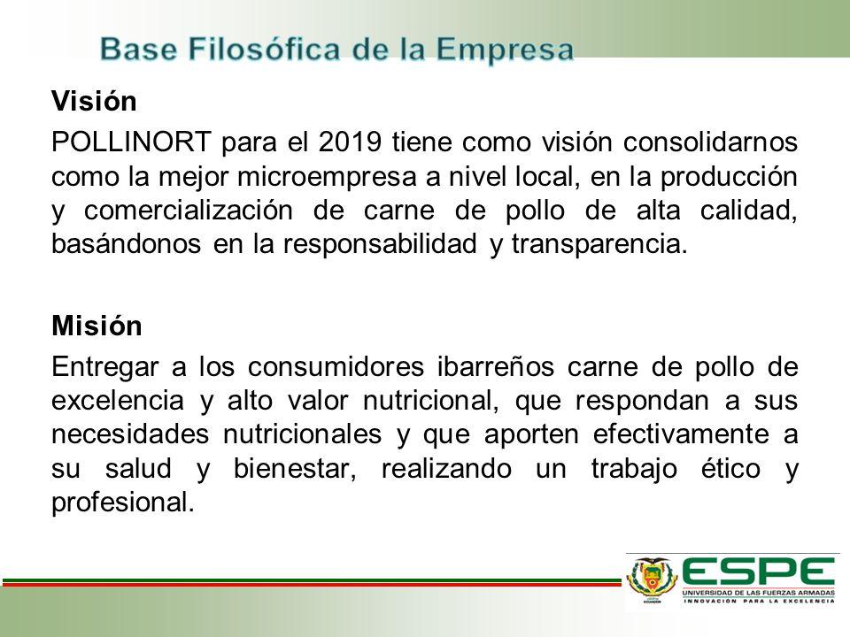 Visión POLLINORT para el 2019 tiene como visión consolidarnos como la mejor microempresa a nivel local, en la producción y comercialización de carne de pollo de alta calidad, basándonos en la responsabilidad y transparencia.