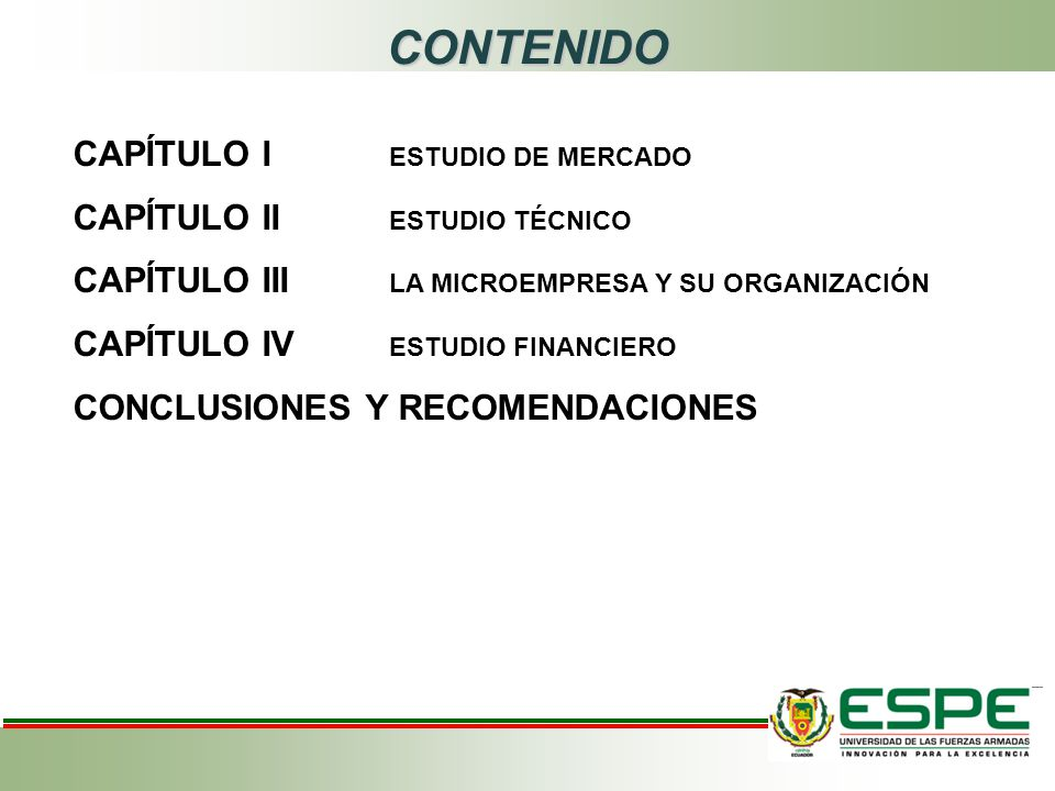 CONTENIDO CAPÍTULO I ESTUDIO DE MERCADO CAPÍTULO II ESTUDIO TÉCNICO CAPÍTULO III LA MICROEMPRESA Y SU ORGANIZACIÓN CAPÍTULO IV ESTUDIO FINANCIERO CONCLUSIONES Y RECOMENDACIONES