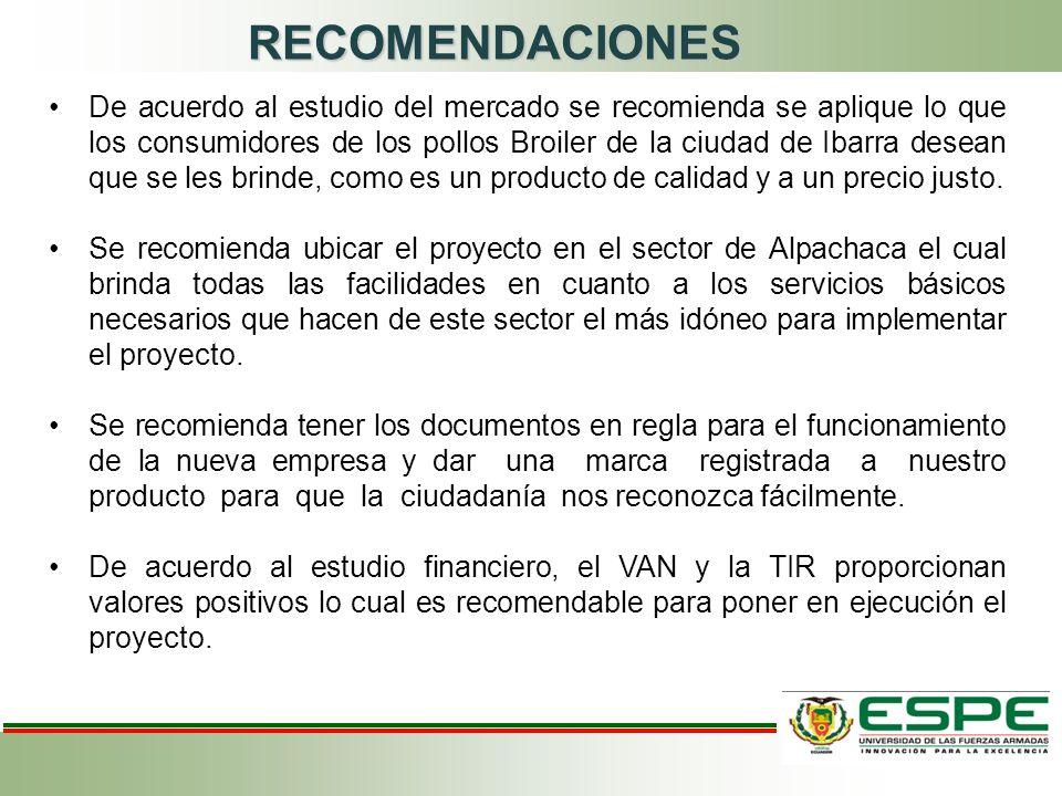 RECOMENDACIONES De acuerdo al estudio del mercado se recomienda se aplique lo que los consumidores de los pollos Broiler de la ciudad de Ibarra desean que se les brinde, como es un producto de calidad y a un precio justo.