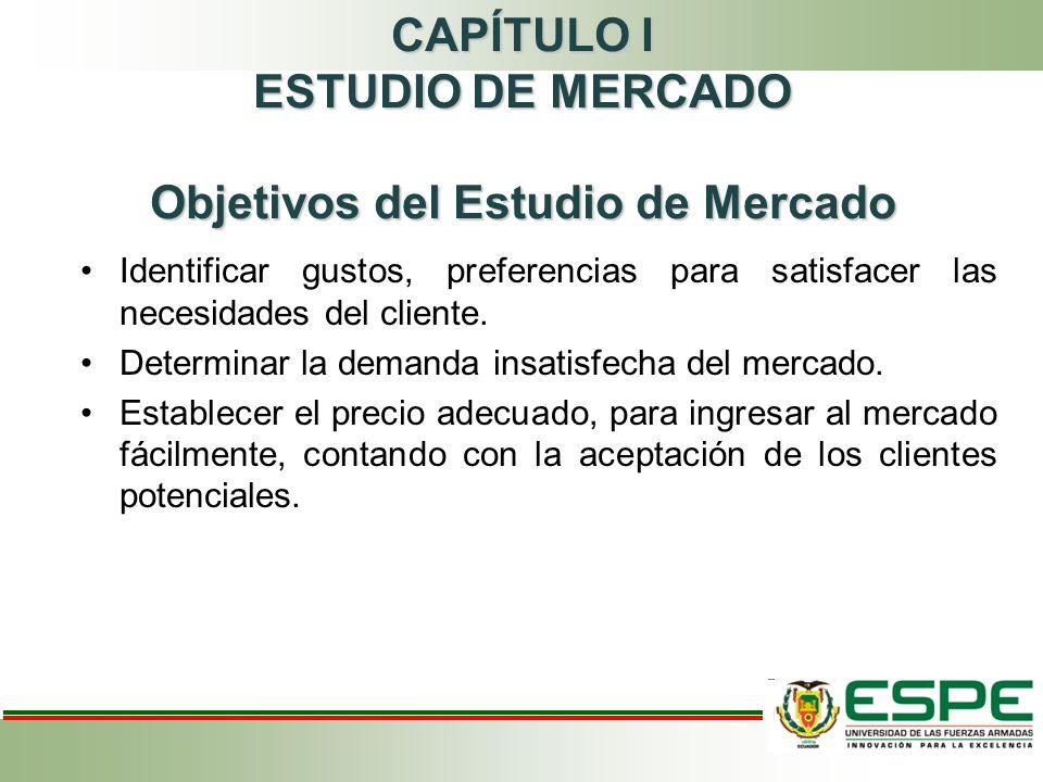 CAPÍTULO I ESTUDIO DE MERCADO Objetivos del Estudio de Mercado Identificar gustos, preferencias para satisfacer las necesidades del cliente.