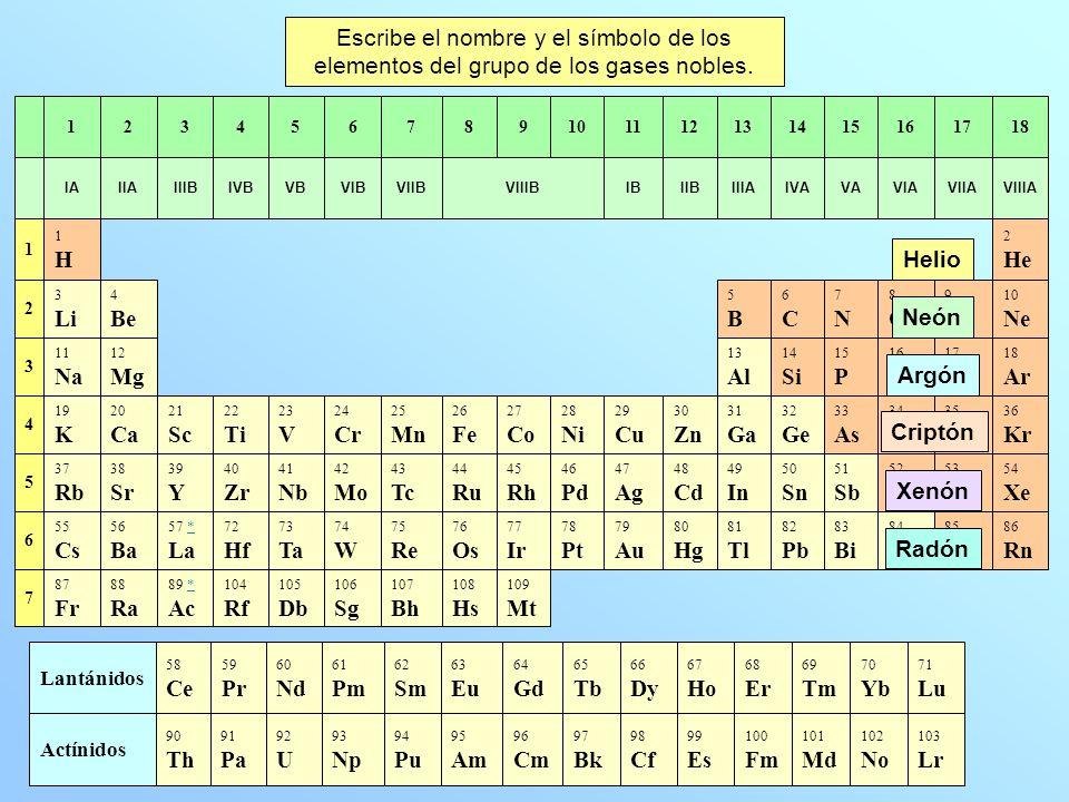 71 Lu 70 Yb 69 Tm 68 Er 67 Ho 66 Dy 65 Tb 64 Gd 63 Eu 62 Sm 61 Pm 60 Nd 59 Pr 58 Ce Lantánidos 103 Lr 102 No 101 Md 100 Fm 99 Es 98 Cf 97 Bk 96 Cm 95 Am 94 Pu 93 Np 92 U 91 Pa 90 Th Actínidos Escribe el nombre y el símbolo de los elementos del grupo de los gases nobles.