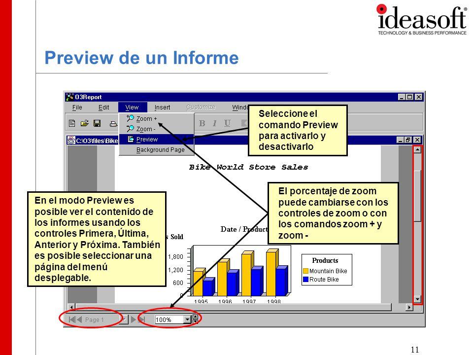 11 Preview de un Informe Seleccione el comando Preview para activarlo y desactivarlo En el modo Preview es posible ver el contenido de los informes usando los controles Primera, Última, Anterior y Próxima.