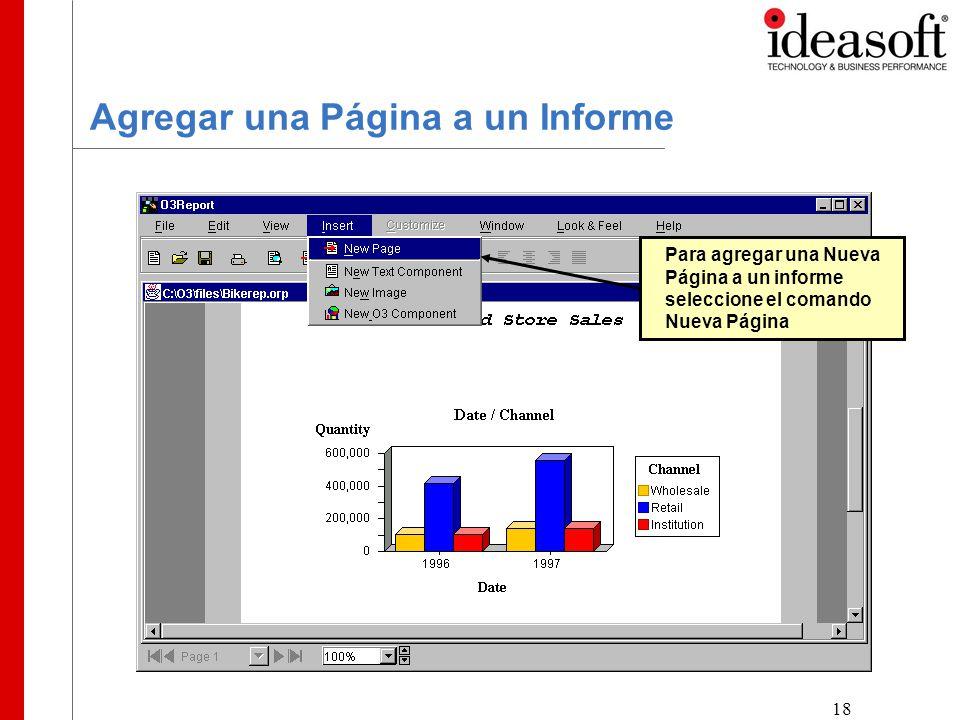 18 Agregar una Página a un Informe Para agregar una Nueva Página a un informe seleccione el comando Nueva Página