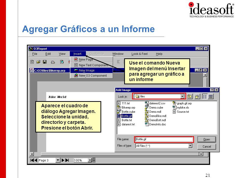 21 Agregar Gráficos a un Informe Use el comando Nueva Imagen del menú Insertar para agregar un gráfico a un informe Aparece el cuadro de diálogo Agregar Imagen.