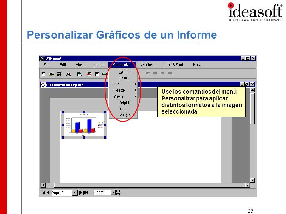 23 Personalizar Gráficos de un Informe Use los comandos del menú Personalizar para aplicar distintos formatos a la imagen seleccionada
