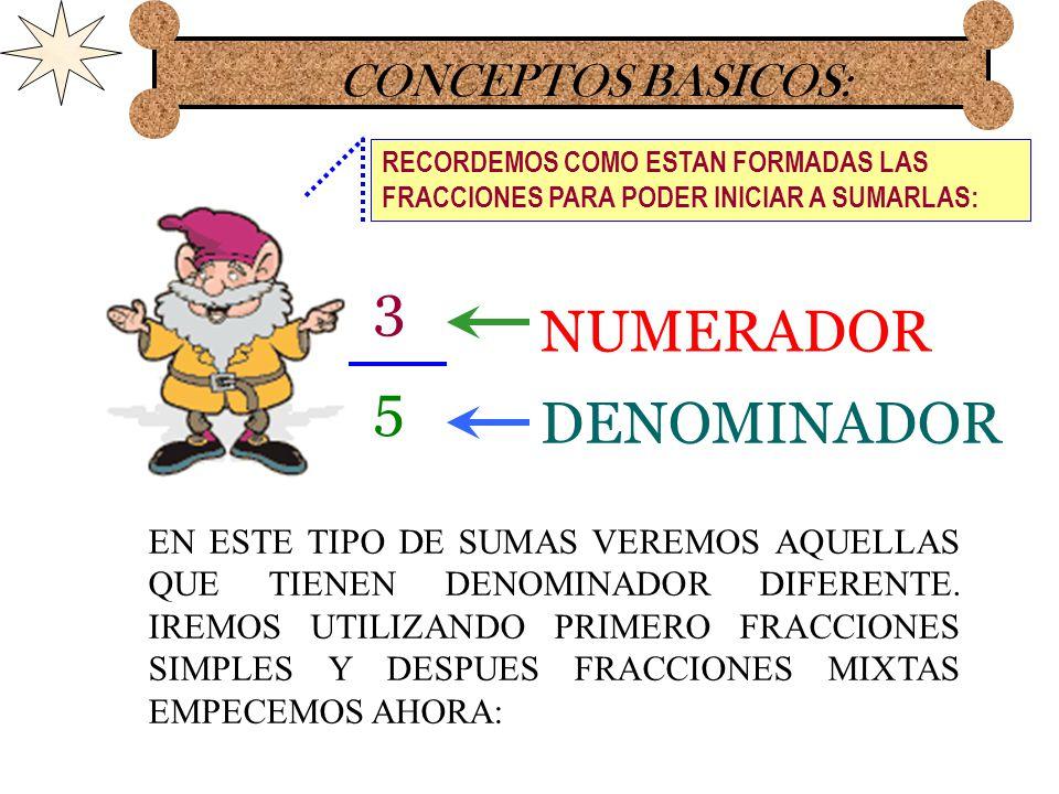 SUMA DE FRACCIONES SEGUNDO TIPO. MATEMATICAS