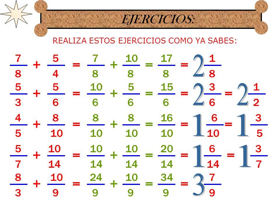 RESUMIENDO: PARA SUMAR FRACCIONES DE DENOMINADORES DIFERENTES Y QUE EL DENOMINADOR PEQUEÑO CABE EXACTAMENTE EN EL GRANDE SOLO SE TRANSFORMAN EN FRACCIONES CON IGUALES DENOMINADORES ASI: 6 7 8 14 += PRIMERO SE PASAN LAS FRACCIONES CON EL DENOMINADOR MAYOR EN CADA UNA.