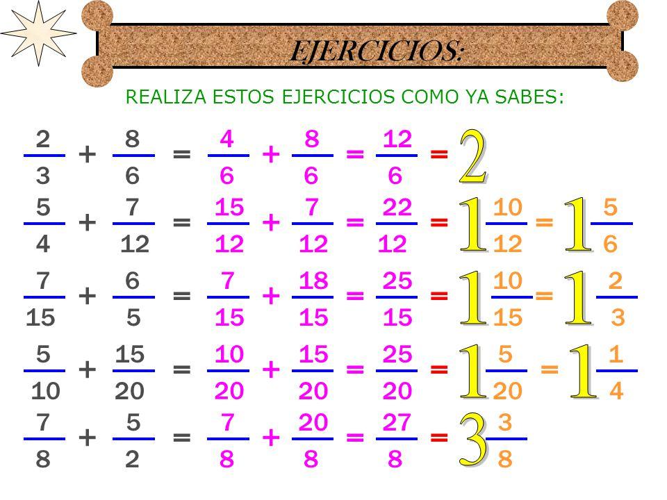 EJERCICIOS: 7 8 5 4 += 7 8 + 1 8 5 3 5 6 += 10 6 + 3 6 4 5 8 += 8 + 5 7 14 += 10 14 + 6 8 3 10 9 += 24 9 + 7 9 10 8 5 6 8 14 10 9 = = = = = 17 8 15 6 16 10 20 14 34 9 = = = = = REALIZA ESTOS EJERCICIOS COMO YA SABES: 1 2 = 6 10 = 3 5 3 7 =
