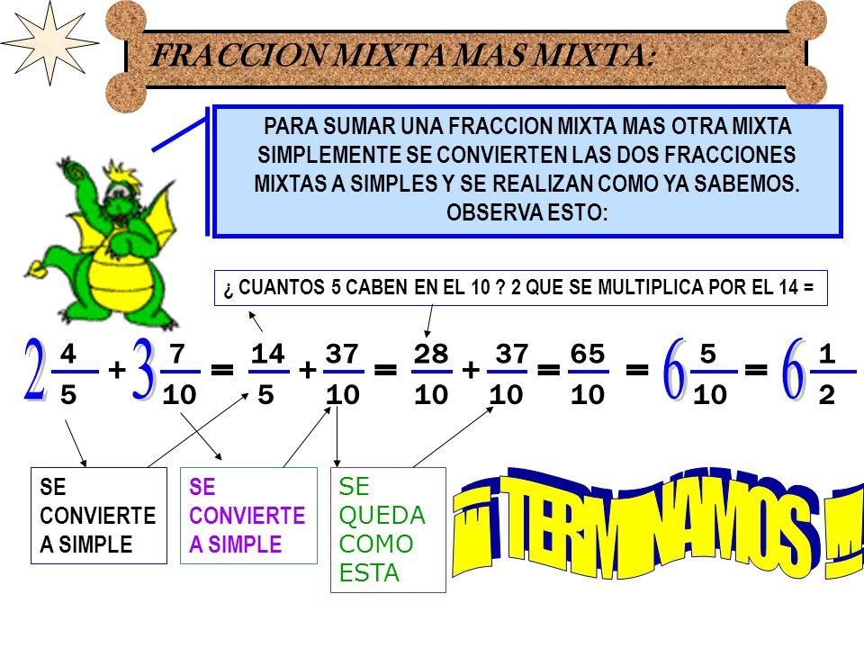 EJERCICIOS: 5 10 + 3 5 = 8 5 5 + = 165 + = 21 10 = 1 5 6 + 1 3 = 5 6 7 3 + = 514 + = 19 6 = 1 6 66 7 4 + 3 8 = 27 8 7 4 + = 14 + = 41 8 = 1 8 88 8 6 + 1 2 = 8 6 9 2 + = 8 27 + = 35 6 = 5 6 66 11 14 + 5 7 = 12 7 11 14 + = 2411 + = 35 14 = 7 REALIZA ESTOS EJERCICIOS COMO YA SABES:
