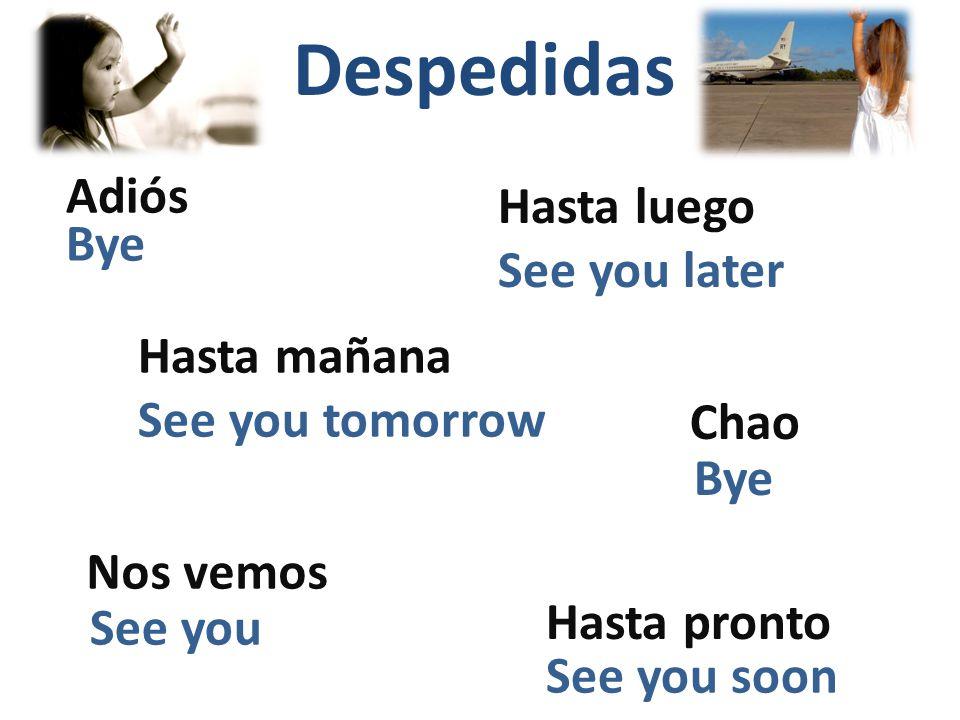 Despedidas Adiós Hasta luego Chao Nos vemos Hasta mañana Hasta pronto Bye See you later See you tomorrow Bye See you soon See you