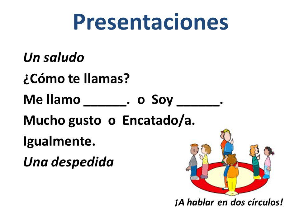 Presentaciones ¡A hablar en dos círculos.Un saludo ¿Cómo te llamas.