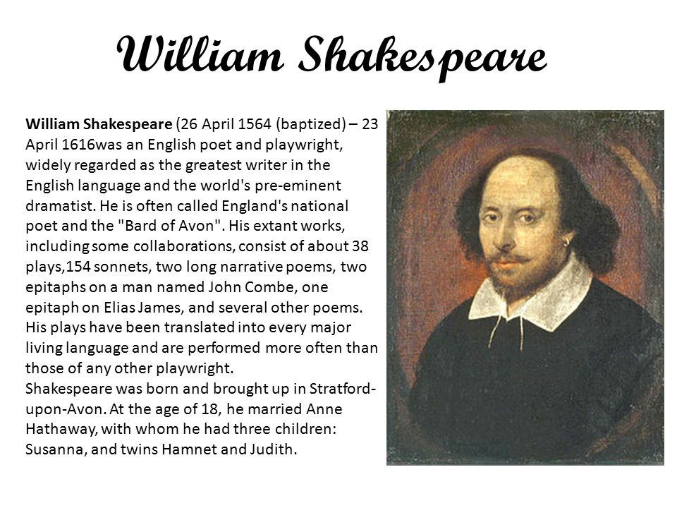 "a biography of william shakespeare an english playwright William shakespeare, playwright and william shakespeare soul of the age: a biography of the mind of william shakespeare"" by."
