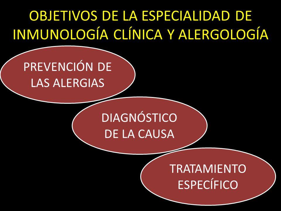 OBJETIVOS DE LA ESPECIALIDAD DE INMUNOLOGÍA CLÍNICA Y ALERGOLOGÍA PREVENCIÓN DE LAS ALERGIAS DIAGNÓSTICO DE LA CAUSA TRATAMIENTO ESPECÍFICO