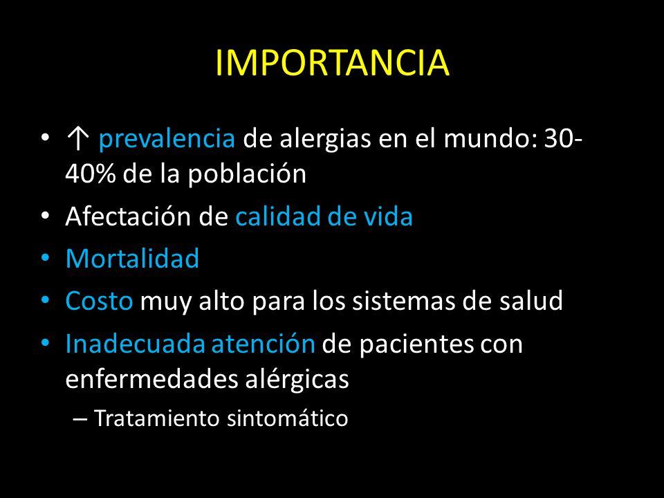 IMPORTANCIA ↑ prevalencia de alergias en el mundo: 30- 40% de la población Afectación de calidad de vida Mortalidad Costo muy alto para los sistemas de salud Inadecuada atención de pacientes con enfermedades alérgicas – Tratamiento sintomático