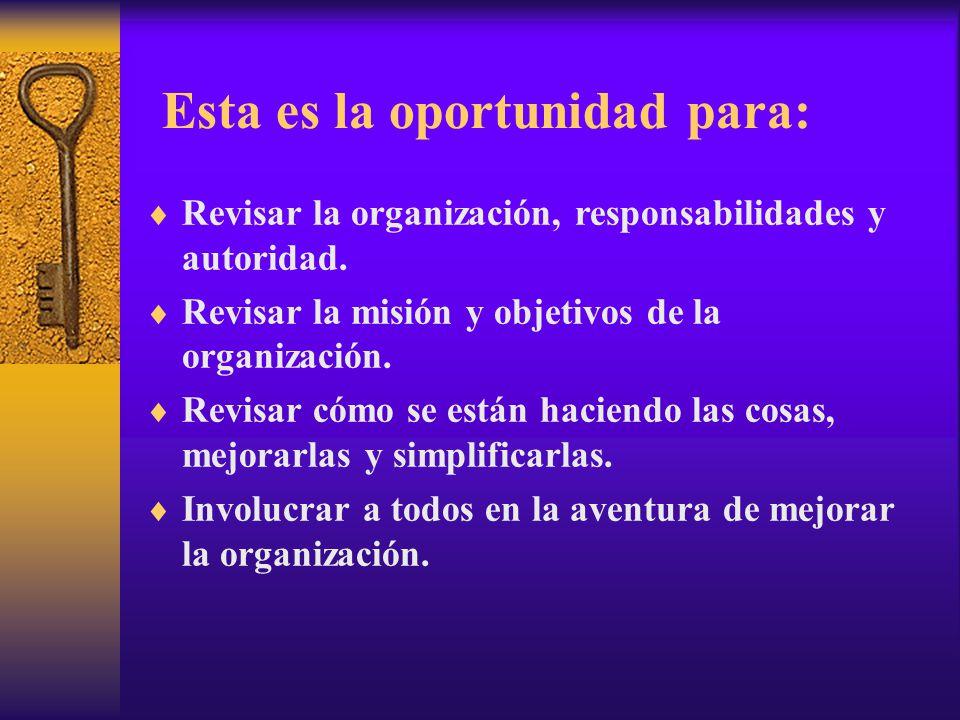 Esta es la oportunidad para:  Revisar la organización, responsabilidades y autoridad.