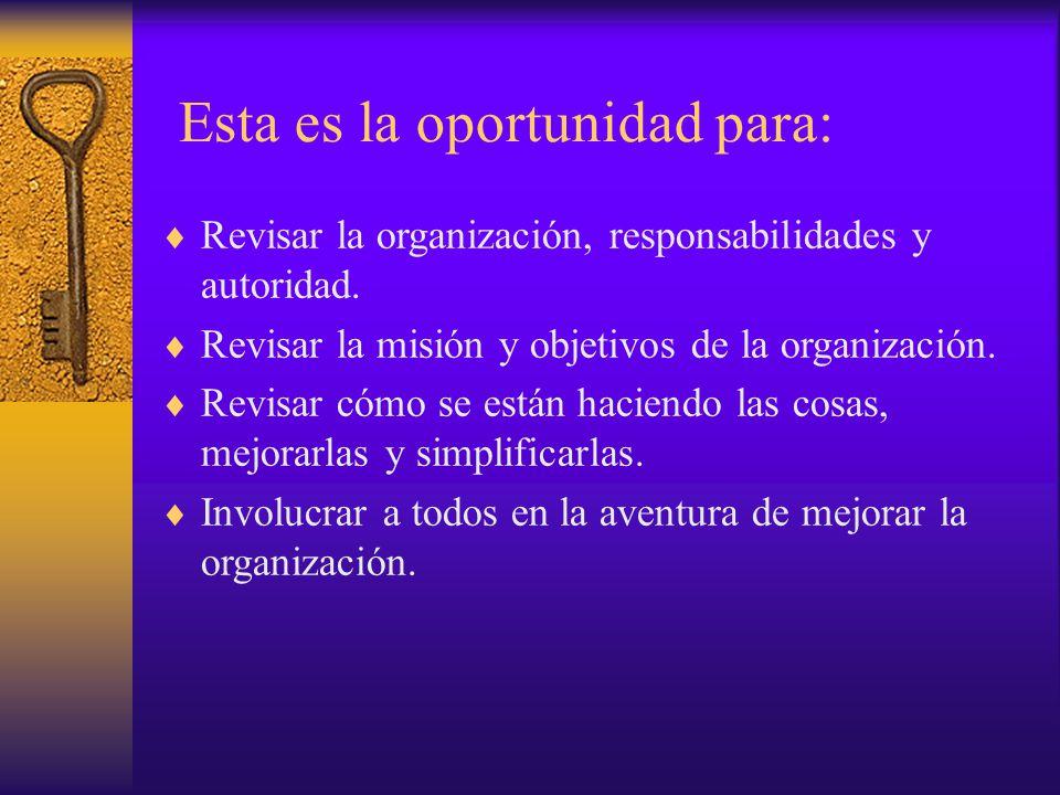 Esta es la oportunidad para:  Revisar la organización, responsabilidades y autoridad.  Revisar la misión y objetivos de la organización.  Revisar c