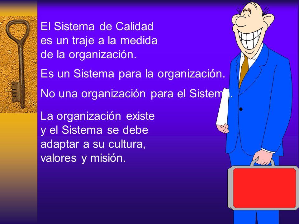 El Sistema de Calidad es un traje a la medida de la organización. Es un Sistema para la organización. No una organización para el Sistema. La organiza