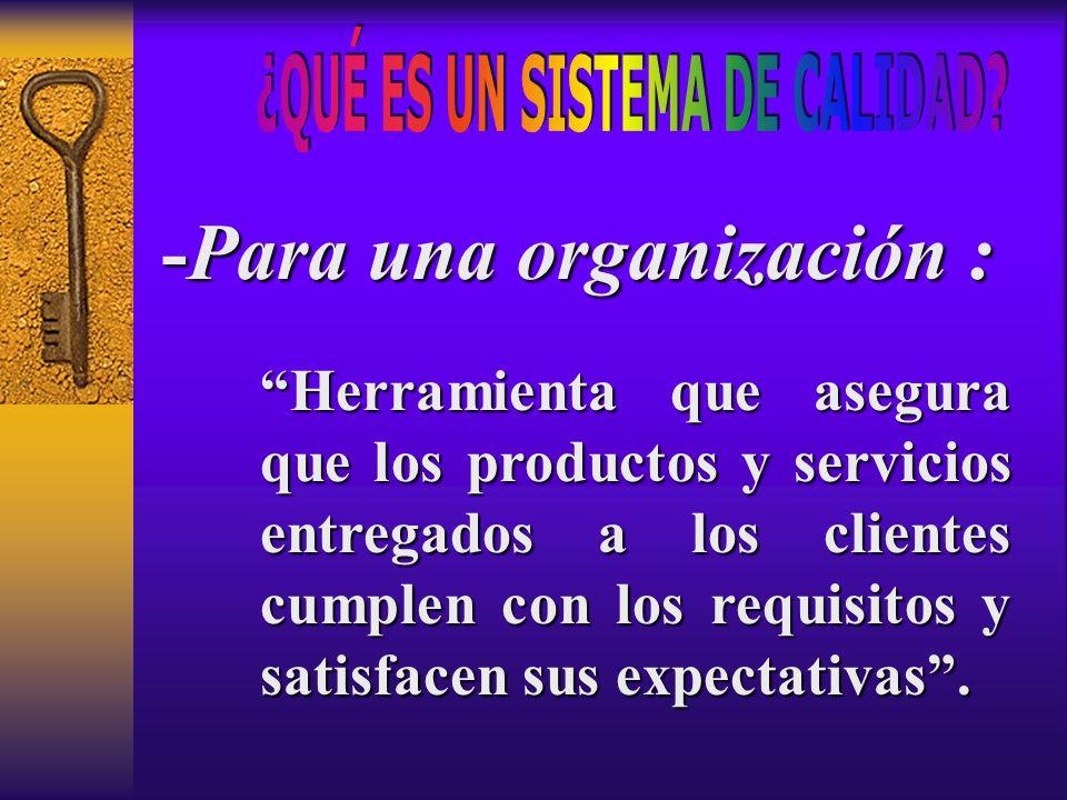 """""""Herramienta que asegura que los productos y servicios entregados a los clientes cumplen con los requisitos y satisfacen sus expectativas"""". -Para una"""