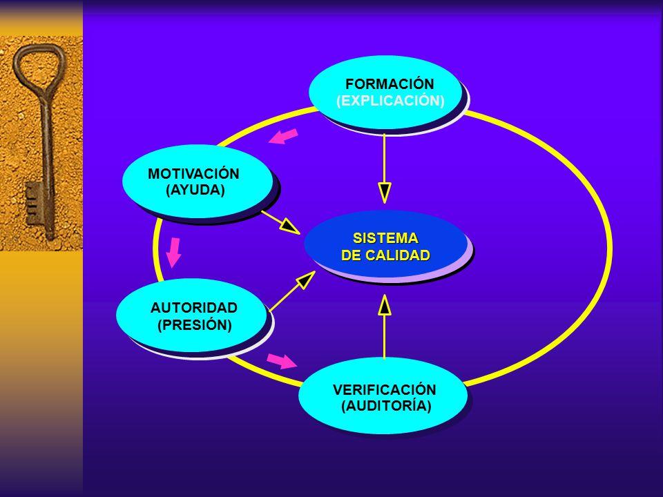 FORMACIÓN VERIFICACIÓN (AUDITORÍA) MOTIVACIÓN (AYUDA) (EXPLICACIÓN) (PRESIÓN) SISTEMA DE CALIDAD AUTORIDAD