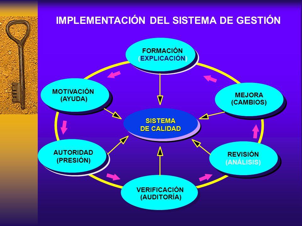 REVISIÓN (ANÁLISIS) REVISIÓN (ANÁLISIS) FORMACIÓN MEJORA (CAMBIOS) VERIFICACIÓN (AUDITORÍA) MOTIVACIÓN (AYUDA) (EXPLICACIÓN) (PRESIÓN) SISTEMA DE CALI