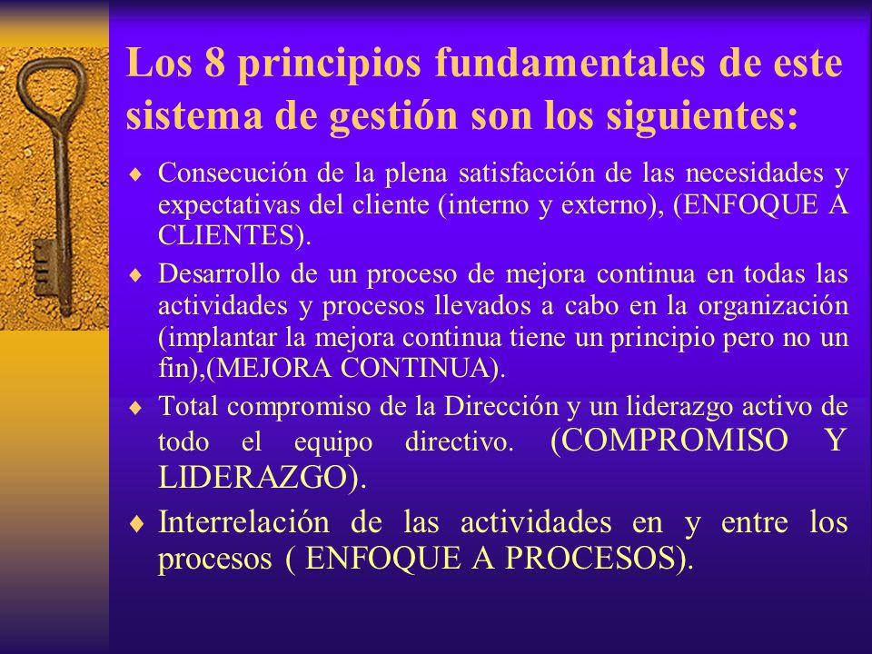 Los 8 principios fundamentales de este sistema de gestión son los siguientes:  Consecución de la plena satisfacción de las necesidades y expectativas