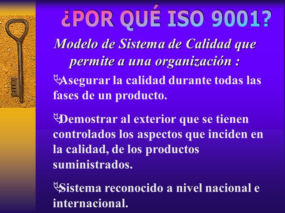 Modelo de Sistema de Calidad que permite a una organización :  Asegurar la calidad durante todas las fases de un producto.  Demostrar al exterior qu