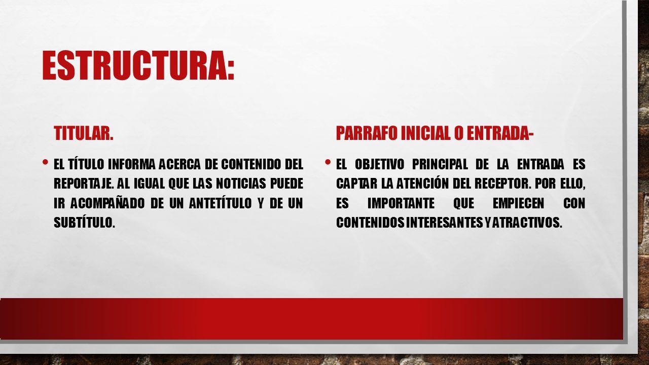 ESTRUCTURA: TITULAR.EL TÍTULO INFORMA ACERCA DE CONTENIDO DEL REPORTAJE.