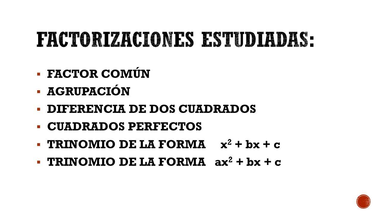  FACTOR COMÚN  AGRUPACIÓN  DIFERENCIA DE DOS CUADRADOS  CUADRADOS PERFECTOS  TRINOMIO DE LA FORMA x 2 + bx + c  TRINOMIO DE LA FORMA ax 2 + bx + c