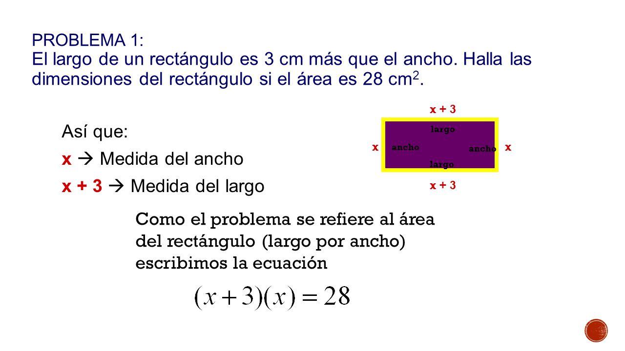 PROBLEMA 1: El largo de un rectángulo es 3 cm más que el ancho.