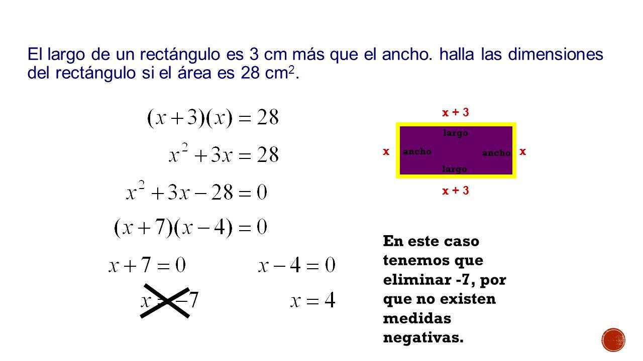 El largo de un rectángulo es 3 cm más que el ancho.