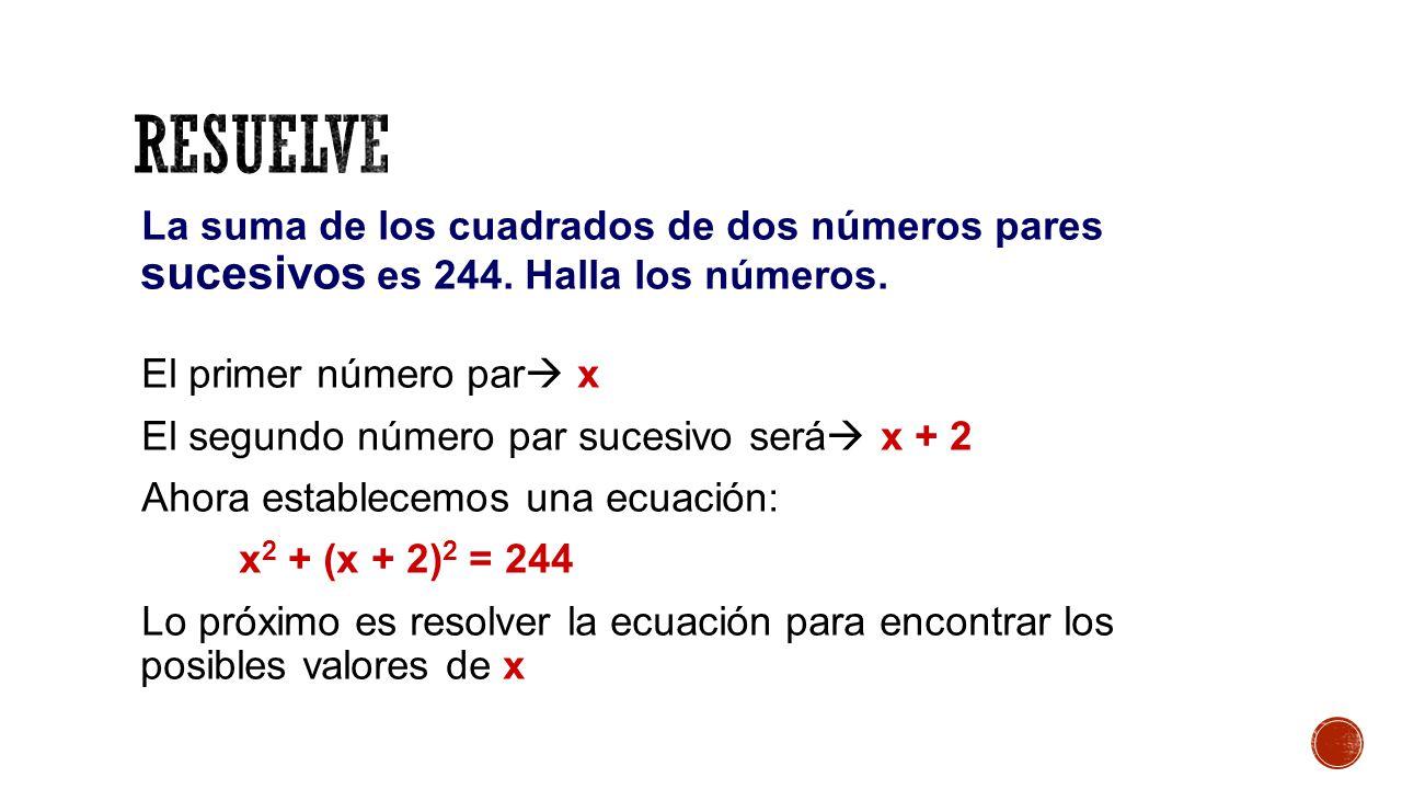 La suma de los cuadrados de dos números pares sucesivos es 244.