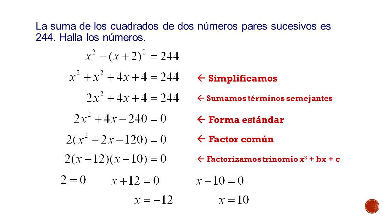  Simplificamos  Sumamos términos semejantes  Forma estándar  Factor común  Factorizamos trinomio x 2 + bx + c La suma de los cuadrados de dos números pares sucesivos es 244.