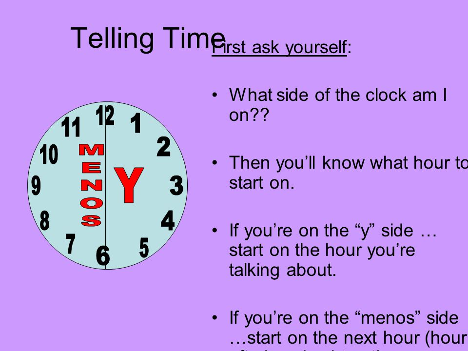 Telling Time First ask yourself: What side of the clock am I on .