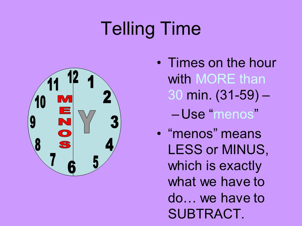 Telling Time Times on the hour with MORE than 30 min.