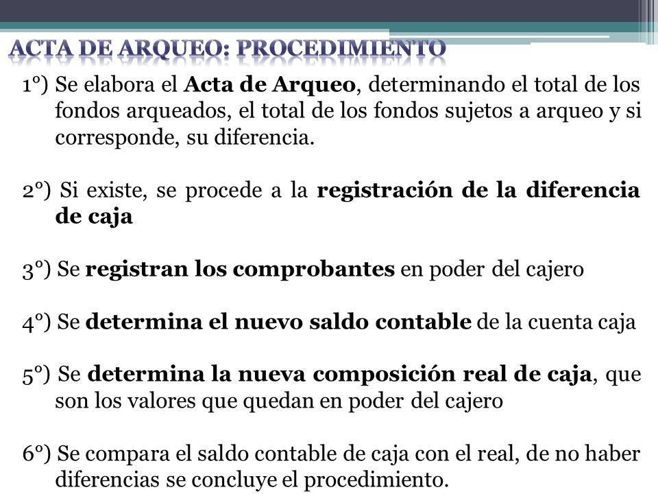 1°) Se elabora el Acta de Arqueo, determinando el total de los fondos arqueados, el total de los fondos sujetos a arqueo y si corresponde, su diferenc