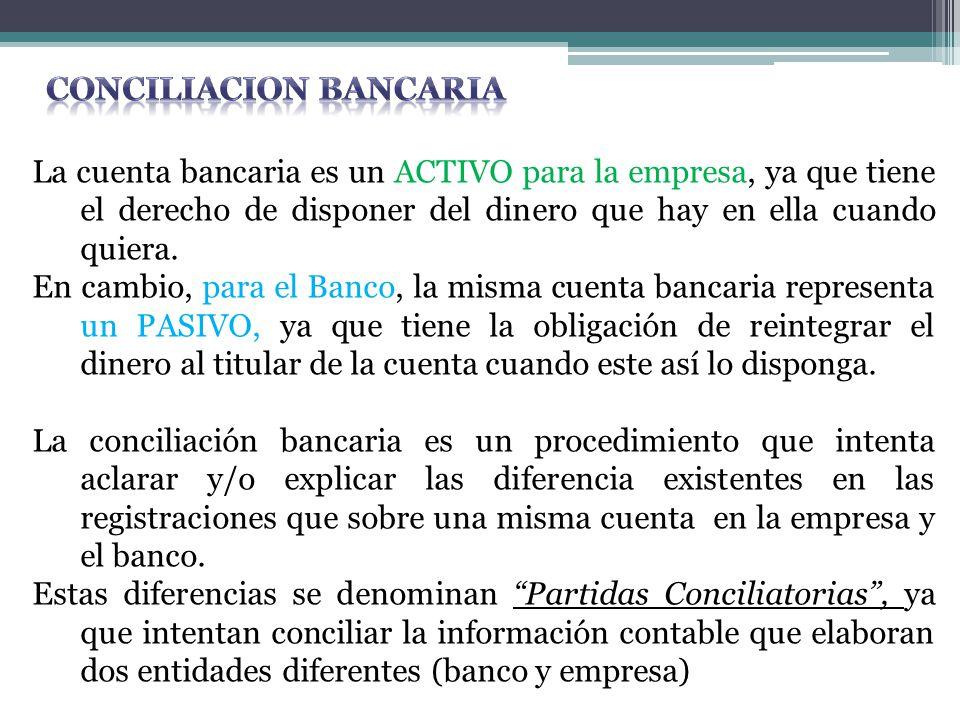 La cuenta bancaria es un ACTIVO para la empresa, ya que tiene el derecho de disponer del dinero que hay en ella cuando quiera. En cambio, para el Banc