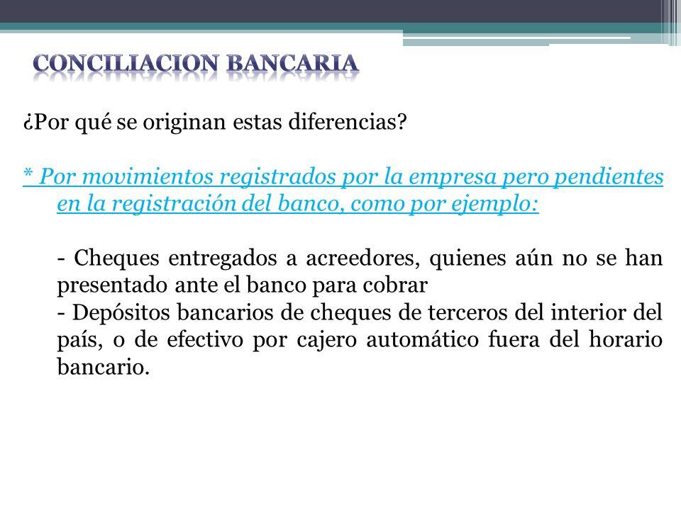 ¿Por qué se originan estas diferencias? * Por movimientos registrados por la empresa pero pendientes en la registración del banco, como por ejemplo: -
