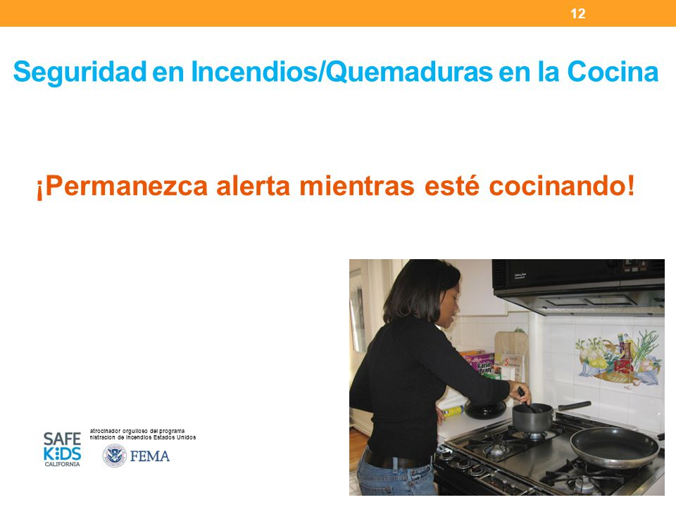 Patrocinador orgulloso del programa Administracion de Incendios Estados Unidos ¡Permanezca alerta mientras esté cocinando.