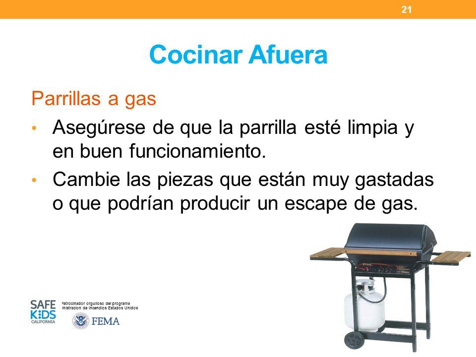 Patrocinador orgulloso del programa Administracion de Incendios Estados Unidos Cocinar Afuera Parrillas a gas Asegúrese de que la parrilla esté limpia y en buen funcionamiento.