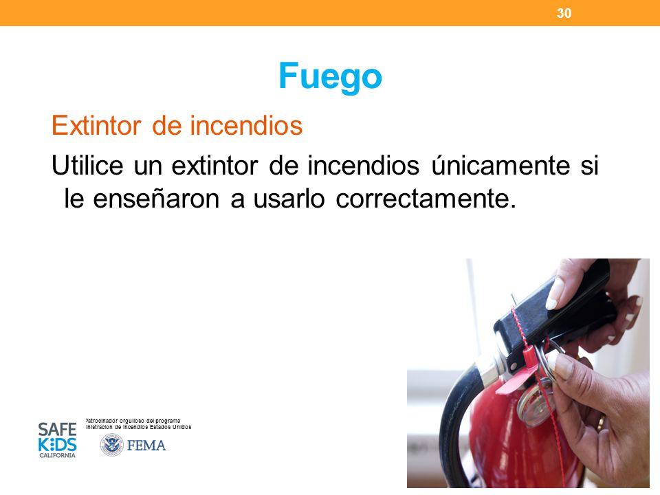 Patrocinador orgulloso del programa Administracion de Incendios Estados Unidos Fuego Extintor de incendios Utilice un extintor de incendios únicamente si le enseñaron a usarlo correctamente.