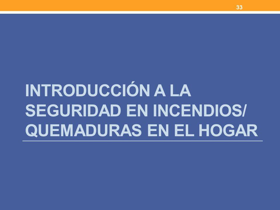 INTRODUCCIÓN A LA SEGURIDAD EN INCENDIOS/ QUEMADURAS EN EL HOGAR 33