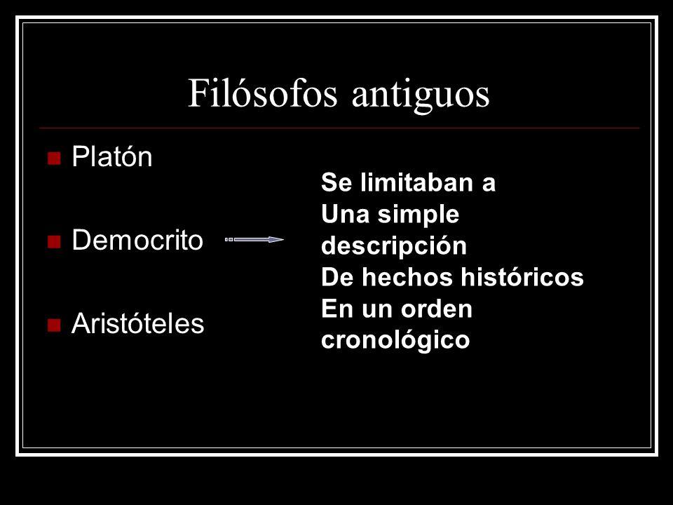 Filósofos antiguos Platón Democrito Aristóteles Se limitaban a Una simple descripción De hechos históricos En un orden cronológico