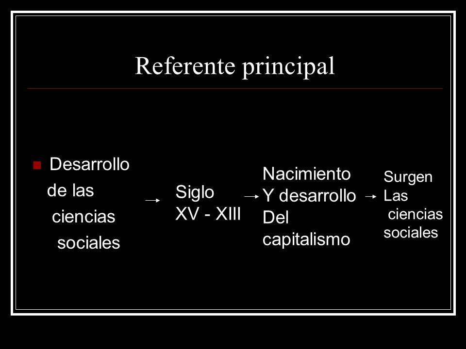 Referente principal Desarrollo de las ciencias sociales Siglo XV - XIII Nacimiento Y desarrollo Del capitalismo Surgen Las ciencias sociales