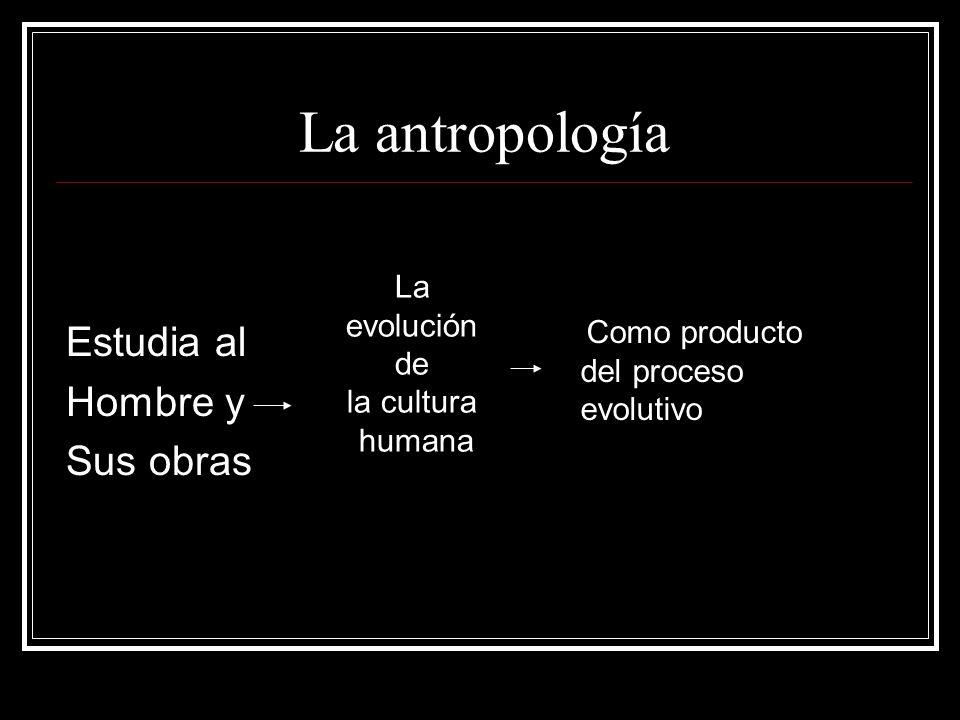 La antropología Estudia al Hombre y Sus obras La evolución de la cultura humana Como producto del proceso evolutivo